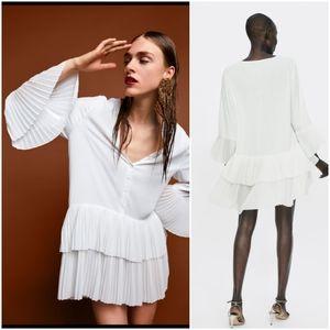 Zara contrasting pleated tunic blouse/ dress